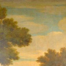 Arte: ÓLEO SOBRE LIENZO PAISAJE CON PERSONAJES SIGLO XVIII. Lote 113103303