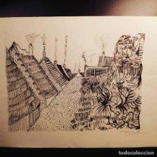 Arte: VINCENT VAN GOGH TINTA CHINA - OBRA REALIZADA ESCUELA DE ARTE - PUEBLO. Lote 113119043