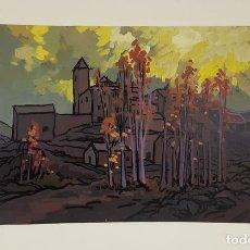 Arte: TORLA ( HUESCA ). ÓLEO SOBRE PAPEL. BARTOLOME GONZALEZ. SIGLO XX. . Lote 113137315