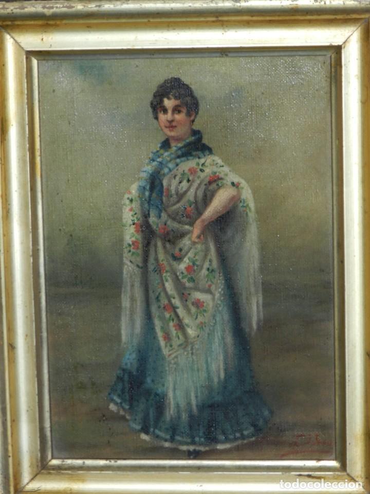 (M) OLEO ANDALUZA CON MANTON DE MANILA FIRMADO F URPER , 26'5 X 20'5 CM, SEÑALES DE USO (Arte - Pintura - Pintura al Óleo Moderna siglo XIX)