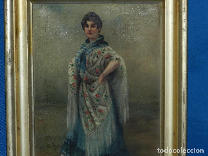 Arte: (M) OLEO ANDALUZA CON MANTON DE MANILA FIRMADO F URPER , 265 X 205 CM, SEÑALES DE USO - Foto 2 - 113146887