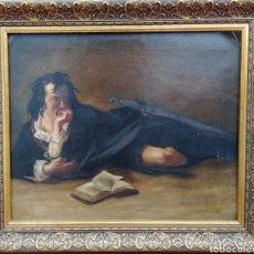 Arte: ANTIGUA PINTURA AL ÓLEO, TIENE FIRMA PERO NO LOGRO LEERLA, MUY ANTIGUO. TIENE UNA ROTURA PEQUEÑA. Lote 113265956