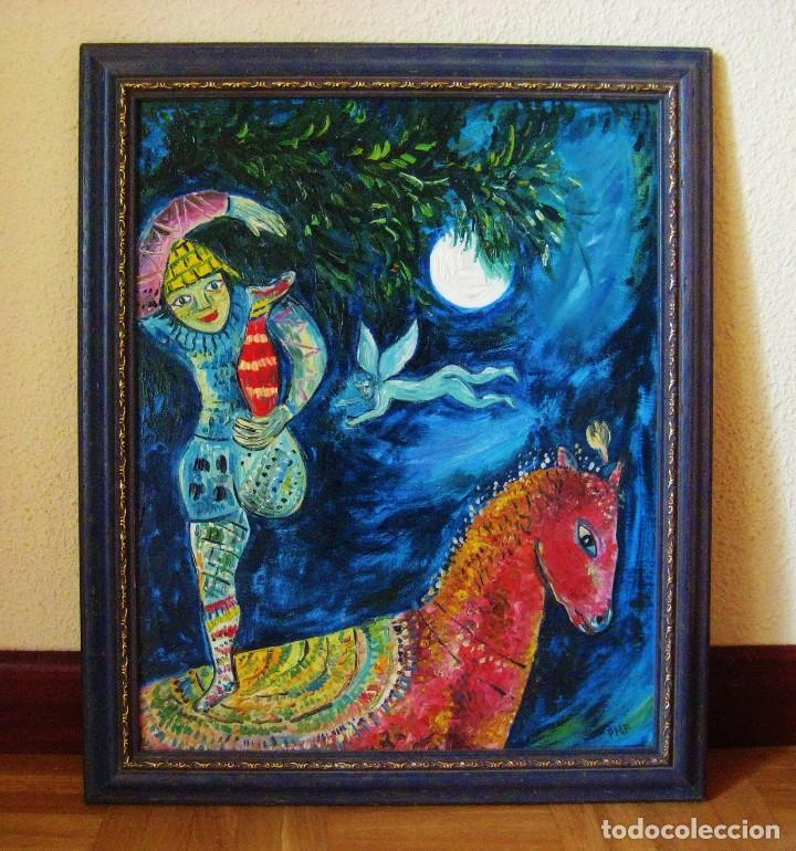 cuadro al óleo. copia de marc chagall. jinete d - Comprar Pintura al ...