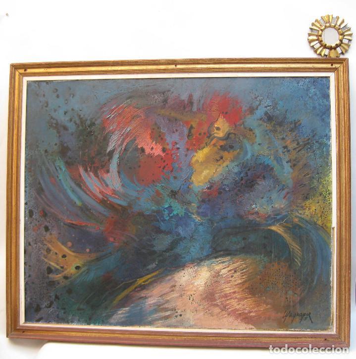 PIEZON! 112X92CM OBRA CUADRO PINTURA MARIA LUISA MAGRANER GALLO EN ROJO 1974 (Arte - Pintura - Pintura al Óleo Contemporánea )