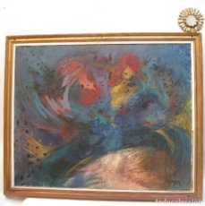 Arte: PIEZON! 112X92CM OBRA CUADRO PINTURA MARIA LUISA MAGRANER GALLO EN ROJO 1974. Lote 113363763