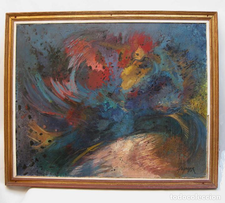 Arte: piezon! 112X92CM OBRA CUADRO PINTURA MARIA LUISA MAGRANER GALLO EN ROJO 1974 - Foto 2 - 113363763