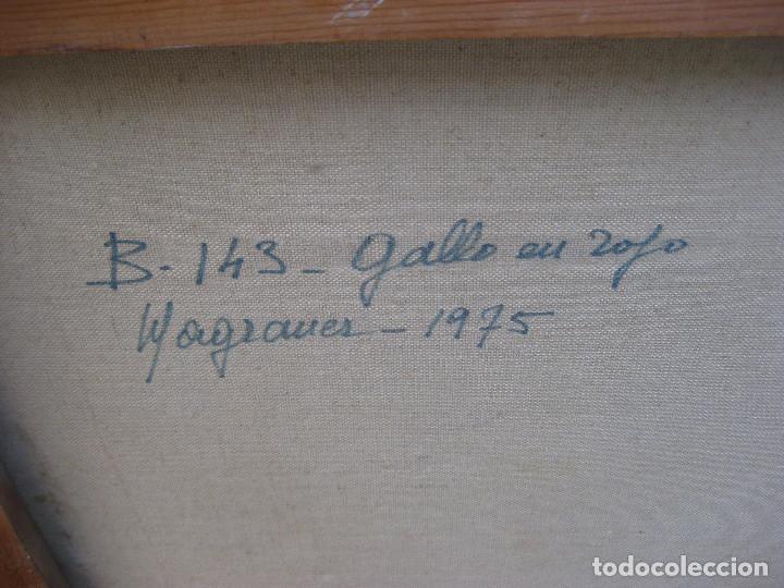 Arte: piezon! 112X92CM OBRA CUADRO PINTURA MARIA LUISA MAGRANER GALLO EN ROJO 1974 - Foto 5 - 113363763