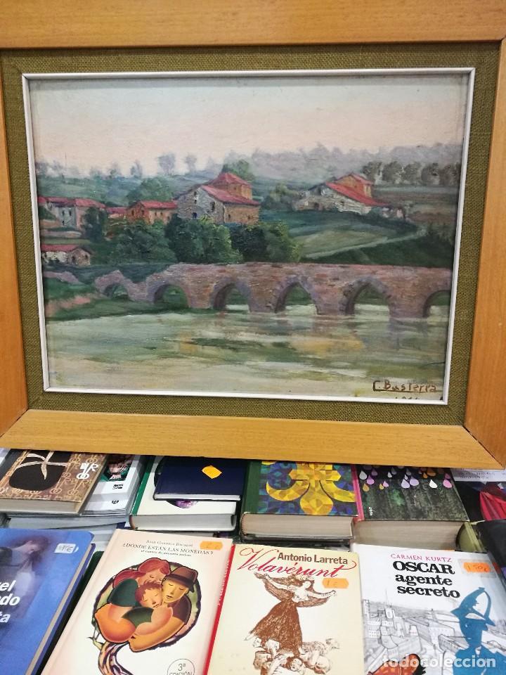 OLEO SOBRE TABLA AUTOR CARMELO BASTERRA ORTIZ DE MONTOYA -EL ZADORRA A SU PASO PO VILLODAS(ALAVA) (Arte - Pintura - Pintura al Óleo Contemporánea )