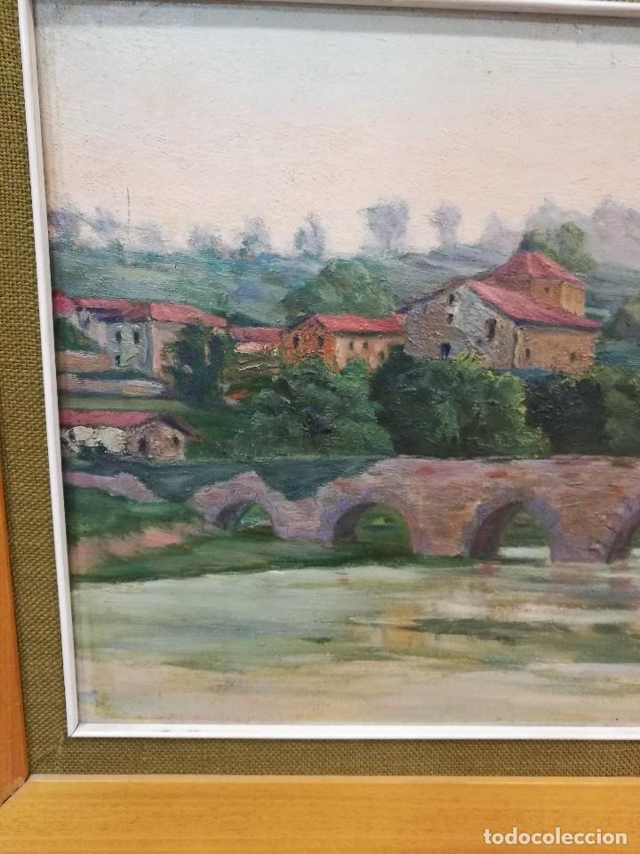 Arte: Oleo sobre tabla autor carmelo basterra ortiz de montoya -el zadorra a su paso po villodas(alava) - Foto 3 - 113402871