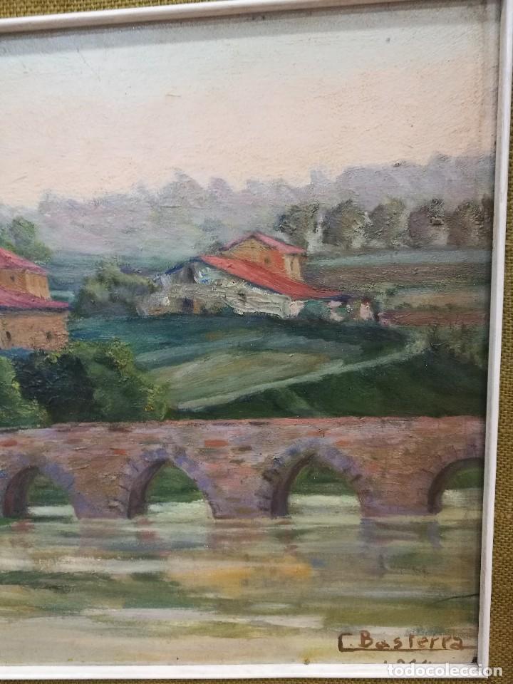 Arte: Oleo sobre tabla autor carmelo basterra ortiz de montoya -el zadorra a su paso po villodas(alava) - Foto 4 - 113402871