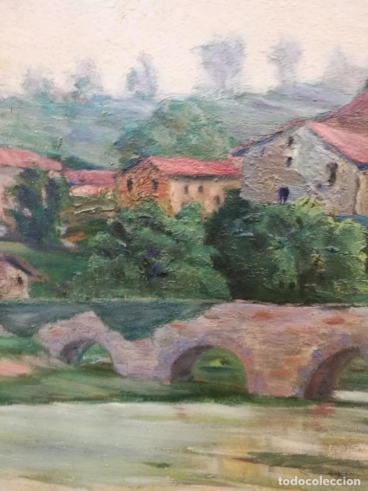 Arte: Oleo sobre tabla autor carmelo basterra ortiz de montoya -el zadorra a su paso po villodas(alava) - Foto 5 - 113402871