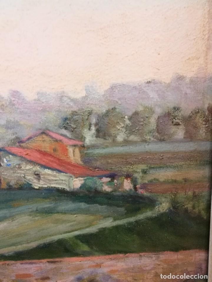 Arte: Oleo sobre tabla autor carmelo basterra ortiz de montoya -el zadorra a su paso po villodas(alava) - Foto 6 - 113402871