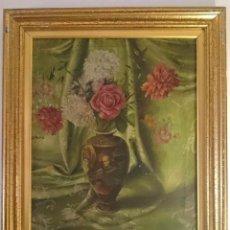 Arte: ANTIGUO ÓLEO SOBRE LIENZO DE JARRÓN SATSUMA Y FLORES. FIRMADO ARBUNIÉS DE 1938.. Lote 113404955