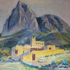 Arte: PAISAJE, ALICANTE, PUIG CAMPANA,FINESTRAT AL OLEO SOBRE LIENZO, ENMARCADO, FIRMA ILEGIBLE. 72X90CM. Lote 113439995
