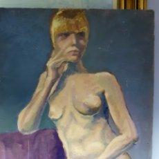 Arte: OLEO SOBRE TABLA, DESNUDO FEMENINO. Lote 113440376