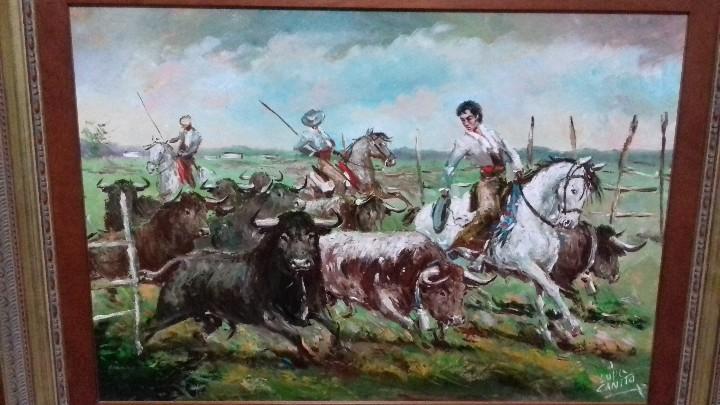TOROS Y MAYORALES. LOPEZ CANITO. OLEO SOBRE TABLA 72X50. MARCO NUEVO. (Arte - Pintura - Pintura al Óleo Contemporánea )