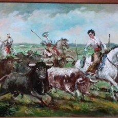 Arte: TOROS Y MAYORALES. LOPEZ CANITO. OLEO SOBRE TABLA 72X50. MARCO NUEVO.. Lote 56185972