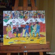 Arte: TRAGEDIA EN LA PLAZA DE TOROS LA COGIDA DE PACO CRESPO BULLFIGHTER FUCK PAINTING. Lote 113551151