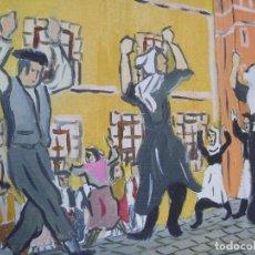 Arte: DANTZARIS EN DURANGO DE PACO CRESPO BAILE VASCO EUSKADI BASQUE DANCES PAINTING. Lote 113551603