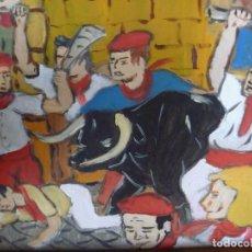 Arte: ENCIERRO SAN FERMIN DE PACO CRESPO RUNNING OF THE BULLS FESTIVAL OF SAN FERMIN PAINTING PAMPLONA. Lote 113552771