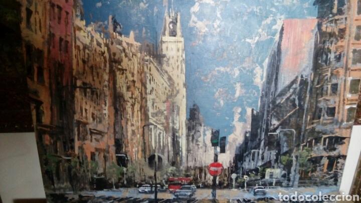 GRAN VÍA DE MADRID, TECNICA MIXTA SOBRE LIENZO, SIN BASTIDOR, DE JAVIER TORICES, FIRMADO (Arte - Pintura - Pintura al Óleo Contemporánea )