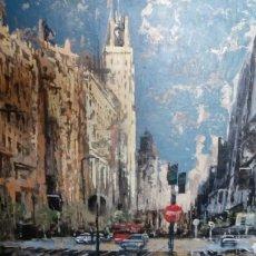 Arte: GRAN VÍA DE MADRID, TECNICA MIXTA SOBRE LIENZO, SIN BASTIDOR, DE JAVIER TORICES, FIRMADO. Lote 113579251