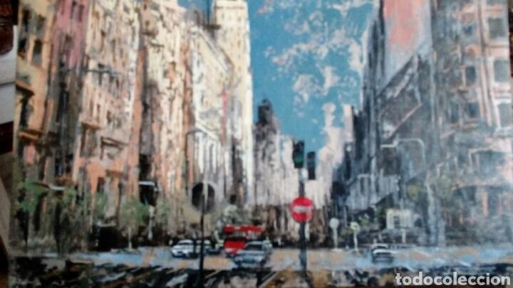 Arte: Gran Vía de Madrid, tecnica mixta sobre lienzo, sin bastidor, de Javier Torices, firmado - Foto 2 - 113579251