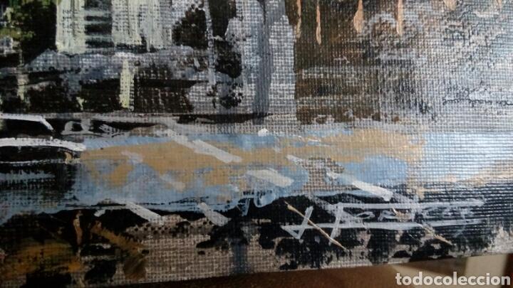 Arte: Gran Vía de Madrid, tecnica mixta sobre lienzo, sin bastidor, de Javier Torices, firmado - Foto 3 - 113579251