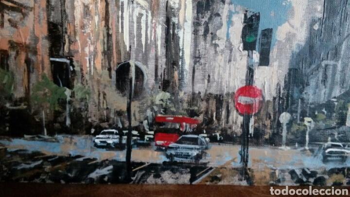 Arte: Gran Vía de Madrid, tecnica mixta sobre lienzo, sin bastidor, de Javier Torices, firmado - Foto 5 - 113579251