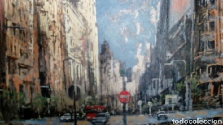 Arte: Gran Vía de Madrid, tecnica mixta sobre lienzo, sin bastidor, de Javier Torices, firmado - Foto 7 - 113579251