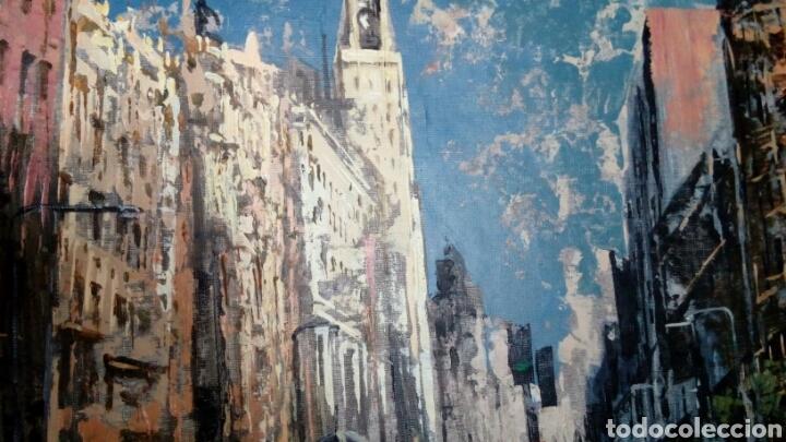 Arte: Gran Vía de Madrid, tecnica mixta sobre lienzo, sin bastidor, de Javier Torices, firmado - Foto 8 - 113579251