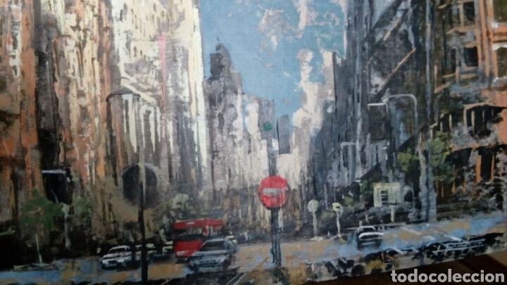 Arte: Gran Vía de Madrid, tecnica mixta sobre lienzo, sin bastidor, de Javier Torices, firmado - Foto 9 - 113579251