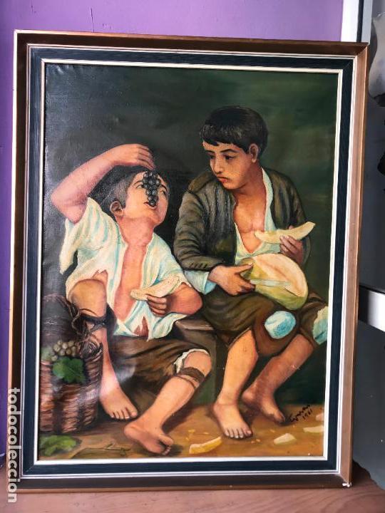 COPIA AL OLEO DE NIÑOS COMIENDO UVAS Y MELÓN DE MURILLO 60 X 80 CM (Arte - Pintura - Pintura al Óleo Moderna sin fecha definida)