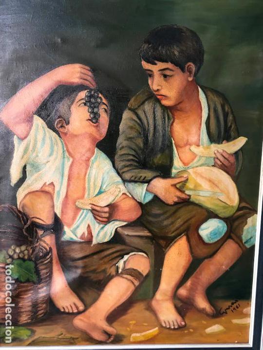 Arte: copia al oleo de Niños comiendo uvas y melón de murillo 60 x 80 cm - Foto 2 - 113634063