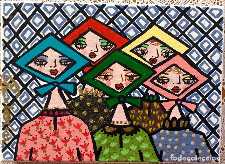 PINTURA FIGURATIVA TÍTULADA JARABANDINAS CON PAÑUELOS SERIE MADE IN MEDINA DE RUTH CALDERIN (Arte - Pintura - Pintura al Óleo Contemporánea )