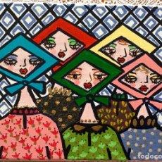 Arte: PINTURA FIGURATIVA TÍTULADA JARABANDINAS CON PAÑUELOS SERIE MADE IN MEDINA DE RUTH CALDERIN. Lote 113693623