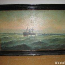 Arte: ÓLEO ANTIGUO. BONITO CUADRO DE MARINA PRINCIPIOS DEL XX.MARCO 115X76 CM. ÓLEO 100X60 CM. ESTÁ FIRMAD. Lote 113707335