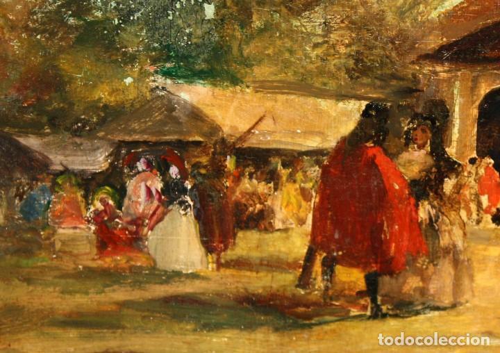 Arte: SEGUIDOR DE EUGENIO LUCAS VELAZQUEZ. OLEO SOBRE TABLA FINALES SIGLO XIX. FIESTA CAMPESTRE - Foto 5 - 113828039