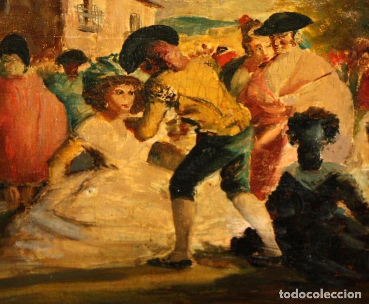 Arte: SEGUIDOR DE EUGENIO LUCAS VELAZQUEZ. OLEO SOBRE TABLA FINALES SIGLO XIX. FIESTA CAMPESTRE - Foto 8 - 113828039