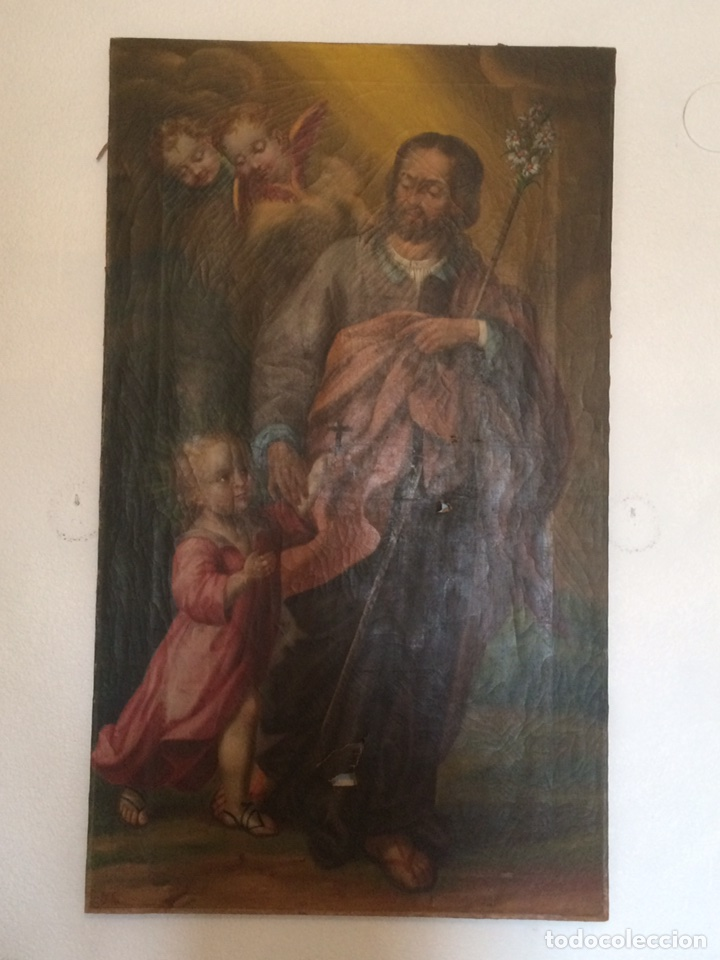 OLEO SAN JOSE (PARA RESTAURAR) (Arte - Pintura - Pintura al Óleo Antigua siglo XVIII)