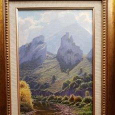 Arte: OLEO SOBRE TABLA (DESFILADERO PICOS EUROPA) 50CM X 27CM. Lote 113890563