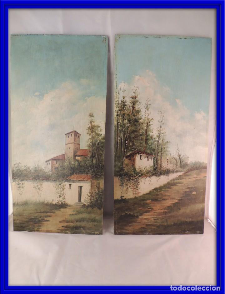 CUADROS PINTURA OLEO SOBRE TABLA PAREJA S. XIX (Arte - Pintura - Pintura al Óleo Antigua sin fecha definida)