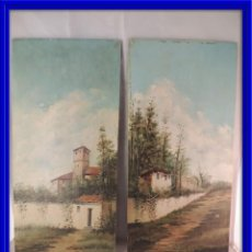 Arte: CUADROS PINTURA OLEO SOBRE TABLA PAREJA S. XIX. Lote 113917587