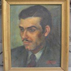 Arte: RETRATO HOMBRE CON BIGOTE, AÑOS 50, FIRMA ILEGIBLE, PINTURA AL ÓLEO SOBRE TELA. 42X50,5CM. Lote 114159643