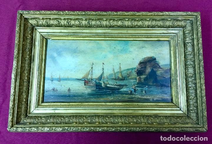 MARINA CON MARCO. (Arte - Pintura - Pintura al Óleo Moderna siglo XIX)