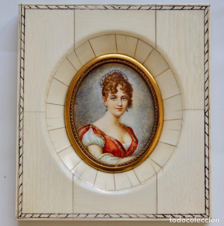 antigüo cuadro miniatura con marco de marfil- p - Comprar Pintura al ...