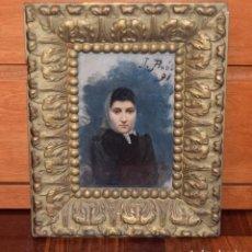 Arte: OLEO SOBRE CARTON O TABLILLA RETRATO DE DAMA FECHADO EN 1891 ARTISTA JUAN JOAN PINOS SALA 1862-1910. Lote 114272363