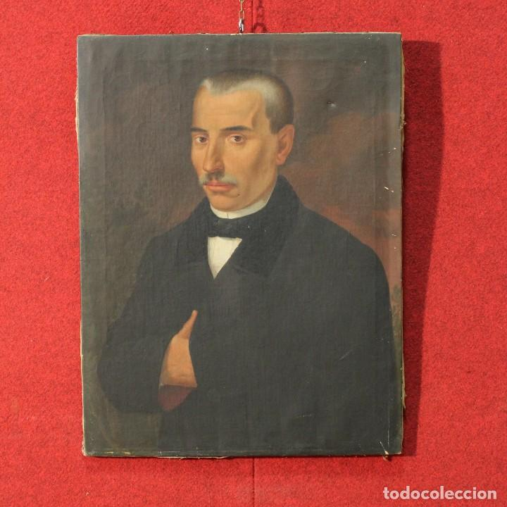 ANTIGUA PINTURA AL ÓLEO SOBRE LIENZO CON RETRATO DE GENTILHOMBRE (Arte - Pintura - Pintura al Óleo Moderna siglo XIX)