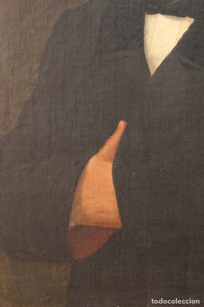 Arte: Antigua pintura al óleo sobre lienzo con retrato de gentilhombre - Foto 4 - 114361203