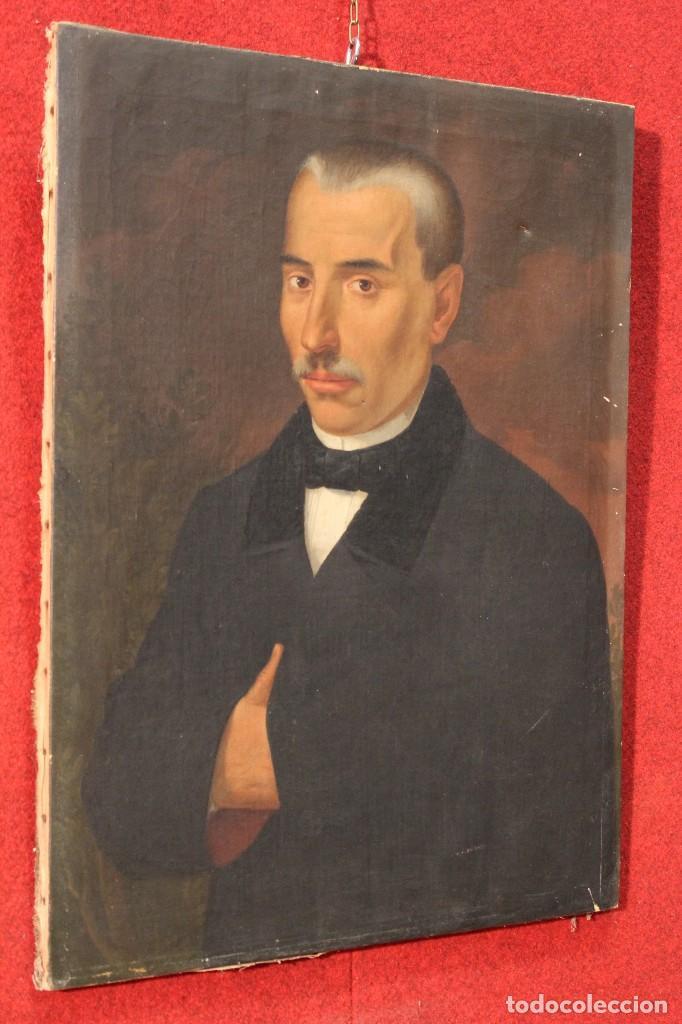 Arte: Antigua pintura al óleo sobre lienzo con retrato de gentilhombre - Foto 8 - 114361203